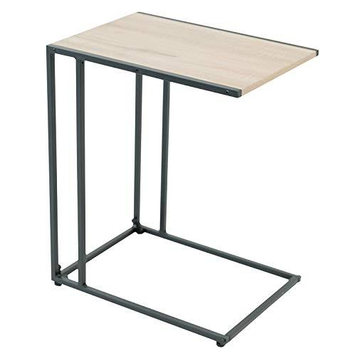 C-Hopetree - Mesa de centro lateral en forma de C, pequeña mesa de café para sofá, mesa C para portátil, marco de metal negro, aspecto moderno de madera industrial