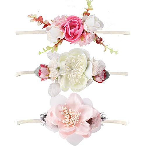 NCMAMA Baby Girls Hair Bows Headbands Floral Stretch Nylon Bands For Toddler...