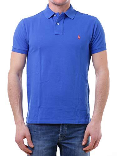 Polo Ralph Lauren Mod. 710795080 Poloshirt Piqué Kurze Ärmel Slim Fit Herren Blau L