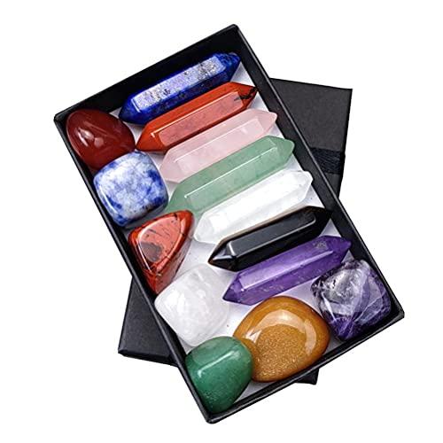 WINBST Juego de 14 piedras de chakra naturales en caja de regalo para meditación, relajación, reiki, yoga, energía