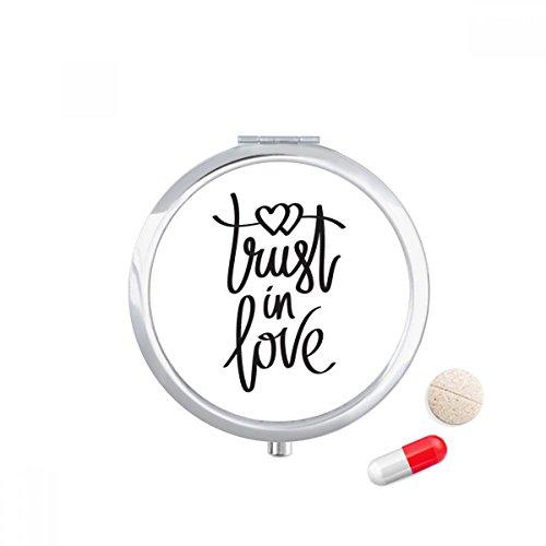DIYthinker Trust in Love Quote Travel Pocket Pill case Medicine Drug Storage Box Dispenser Mirror Gift