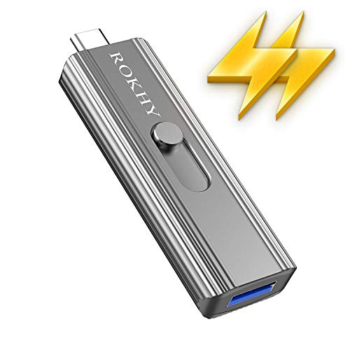 ROKHY 1TB Extreme Portable Mini External SSD USB Type C 2 in 1 Solid State Flash Drive Up to 550MB/s NAND Flash for Android Smartphone Computer, MacBook, Chromebook Pixel- 1TB