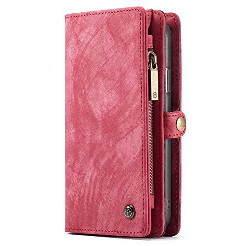 Apple iPhone X Hülle Hülle Geldbörse mit Kredit Kartenfächer [Geldschmühelosmit Reißverschluss] Premium mit abnehmbaren Magnet Handy Schutzhülle,