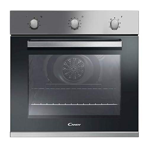 CANDY FCP602X Forno Elettrico da Incasso Ventilato, Capacità 65 Litri, Funzione Grill e Pizza, 8 Programmi, 59.5x59.5x56.8, Acciaio Inossidabile e Vetro,Nero, Classe A+
