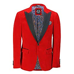 Size Note: Size 46 to 54 UK Runns Small - Please Buy 1 Size Bigger Men's Classic Dinner Suit Jacket with Black Satin Peak Lapels Features Front Two Flap Pockets with Black Trim, One Chest Pocket, 4 Button Lined Cuffs, Single Vent in Back Beautiful Pa...