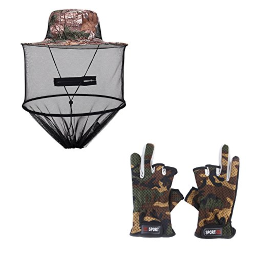 MagiDeal Chapeau de Pêche avec Maille écharpe Anti Moustiques + Gants à 3 Doigts équipement de Protection Visage Mains de Pêcheur