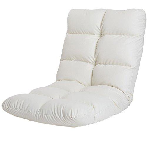 XING ZI LAZY SOFA L-R-S-F Canapé en Cuir Paresseux Simple Unique Pliant Étage Chambre Petit Canapé (Couleur : Blanc)