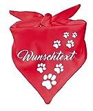 KLEINER FRATZ Hunde Dreiecks Halstuch (Fb: rot) (Gr. 1 (55 cm)) mit Ihrem Wunschtext