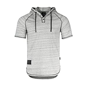 Men's Short Sleeve Casual Fashion Hip Hop Hooded Henley Shirt