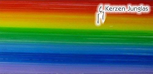 Wachsplatte Regenbogen, längsgestreift 20x10 cm - 9751 - Verzierwachsplatte 200x100 mm für Kerzen