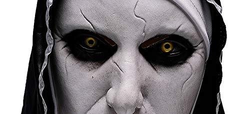 Wellin The Nun Scary - Máscara de látex para fiesta de Halloween, color blanco, talla sin talla