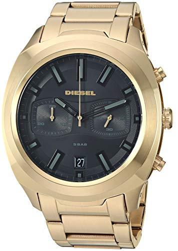Diesel DZ4492 Reloj para Hombre, Extensible, Acero Dorado, Caratula Negro, Análogo