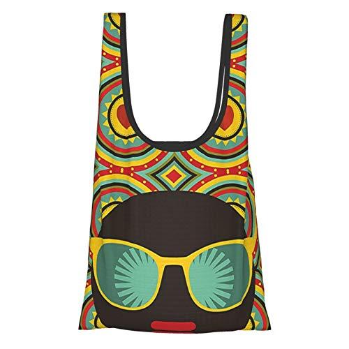 Decoración moderna afrotemática mujer con gafas anillos de oído con negro abstracto telón de fondo arte multicolor reutilizable plegable ecológico bolsas de compras
