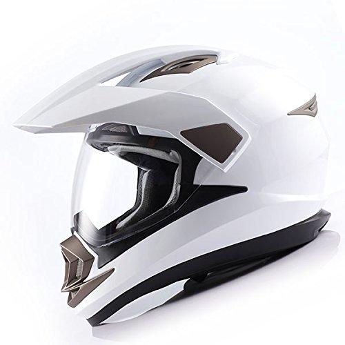 1Storm Dual Sport Helmet Motorcycle Full Face Motocross Off Road Bike Glossy White,Size XXL