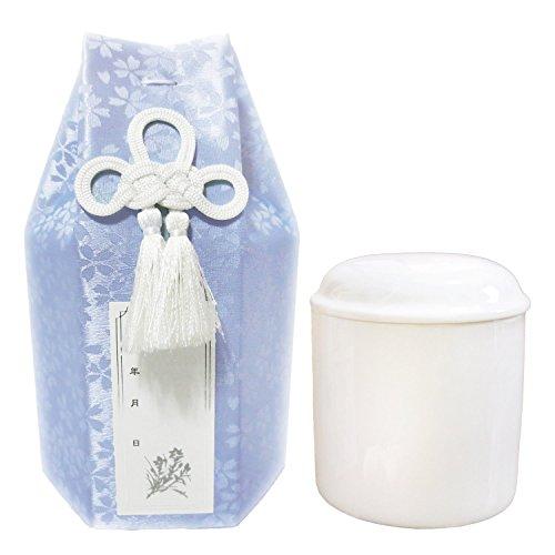 ペット仏具 ペット骨壷 小桜 覆い袋つき 手元供養 ろうそく8本入り Cセット (3寸, ブルー)