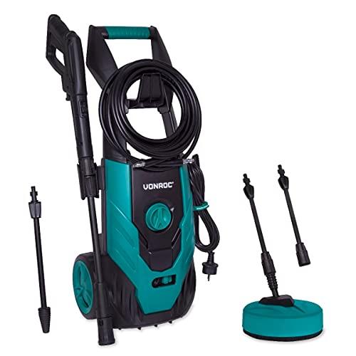 VONROC Hidrolimpiador a presión VONROC 1800W - 140 bar - 420 l/h - Incluye 8m de manguera, tanque de detergente integrado, limpiador de patio, boquillas y accesorios