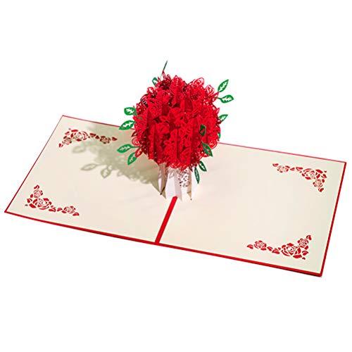 ENJOYPRO Rose Bouquet Pop Up Card, Valentines day card, Mothers day card, 3D Rose Bouquet Card, Rose Flower Greeting Card With Envelope For Valentine's day, Mother's day (3D Rose Bouquet, Pack of 1) Photo #3