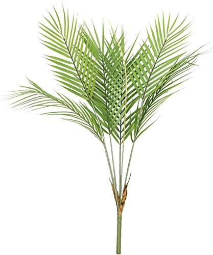 AIVORIUY Hoja de Palma Tropical Artificial Arbusto con Tallos Selva Planta Verde Vegetación, Pequeña Palmera Simulación Plantas Tropicales Decoraciones de Fiestas Hawaianas Arreglo Floral en Florero