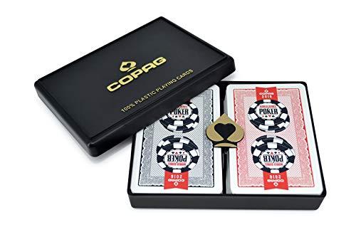 Copag Lace Design 2016 WSOP World Series of Poker 100% Plastic Playing Cards, Bridge Size Regular Index Red/Black Double Deck Set