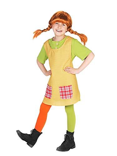 Maskworld Pippi Langstrumpf Kostüm für Kinder - 3teilig - grün/gelb Lizenz Filmkostüm (98/104)