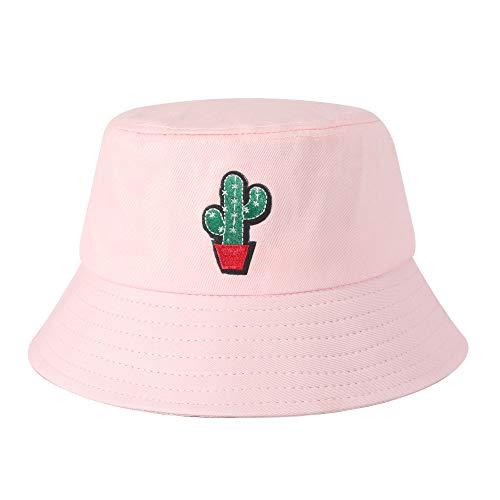 ZLYC Unisex Sommer Süß Eimerhut Fischerhüte, Kaktus Rosa, Einheitsgröße