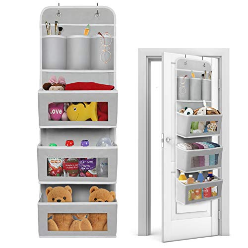 EXTREE Over The Door Organizer Wall Hanging Shelf with Hooks Large Back Behind Door Storage Pocket Organizer for Bedroom Nursery Kids Toy Baby Clothes Closet Bathroom Grey