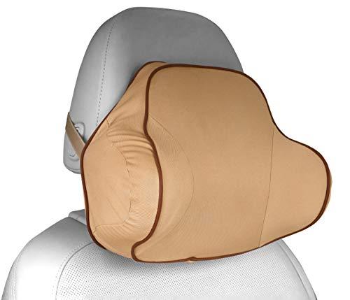 MyGadget Almohada Cabeza para Coche - Cojin Cervical y Cuello para Conducir - Soporte Reposacabezas Ortopédico de Viaje - Soporte Extra - Beige