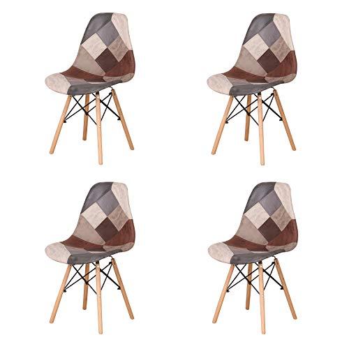Uderkiny Set di 4 Sedia in Stile Nordico Sedia da Pranzo Patchwork, Adatte per Sala da Pranzo Soggiorno (Marrone02)
