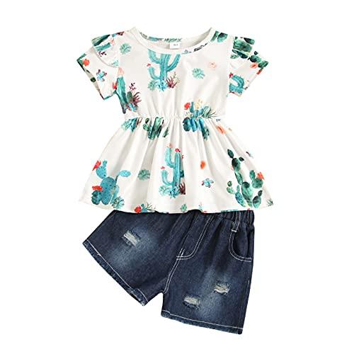 Shaohan Ropa infantil para bebé, conjunto de ropa de bebé, conjunto de ropa de encaje, blusa, top + pantalones vaqueros, ropa de bebé, suave verde 5 años
