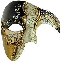 Kayso Black Phantom Mask Black Musical Half Face Venetian Masquerade Mask Phantom Design for Men