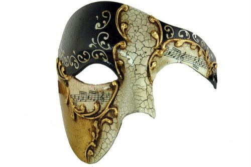 Kayso Black Phantom Mask Black Musical Half Face Venetian Masquerade Mask Phantom Design for Men