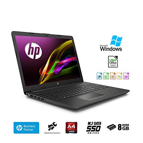 HP 255 G7 Ordenador portátil 15.6' HD A4 9125, 8GB RAM, 256 GB SSD M.2, Radeon R3 Graphics, Windows 10 Professional, HDMI,- Teclado QWERTY Italiano Notebook