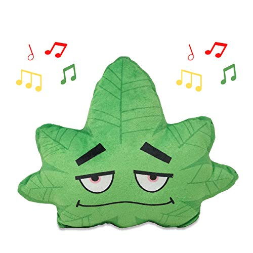 Cuddle Barn - Blazing Buds Plush | Musical Cannabis Marijuana Weed Leaf Stuffed Plush Toy Pillow with Pocket Plays Because I Got High, 13'