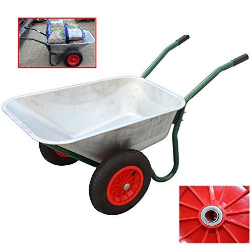 2-Rad Schubkarre Metallwanne feuerverzinkt Gartenschubkarre Schiebkarre Gartenkarre 100l 160kg