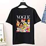XiXi Gráfico de Verano Las Mujeres Camiseta, Mujer Divertido Vogue Camiseta, Tapas de Corea (Color : T135W Black, Size : M)
