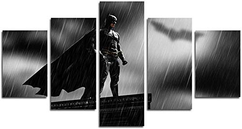 YOPLLL Cuadros De Lienzo Decoración para El Hogar 5 Piezas Paintings Wall Art Prints Modern Poster Modular Bed Background Bat Superhéroe Bajo La Lluvia(Sin Marco)