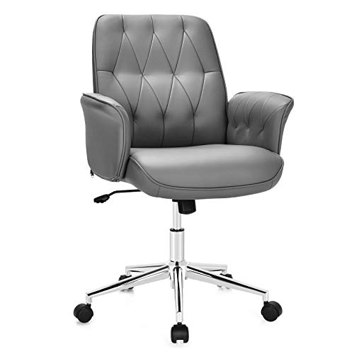 Giantex Modern Office Desk Chair Accent Chair, Adjustable PU Leather Armchair with Wheels, Swivel Writing Desk Chair, Mid-Back Computer Task Chair, Makeup Dressing Chair for Small Space, Living Room