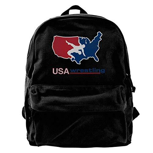 NJIASGFUI Rucksack aus Segeltuch mit USA-Amerika-Wrestling-Logo, für Fitnessstudio, Wandern, Laptop, Schultertasche für Männer und Frauen