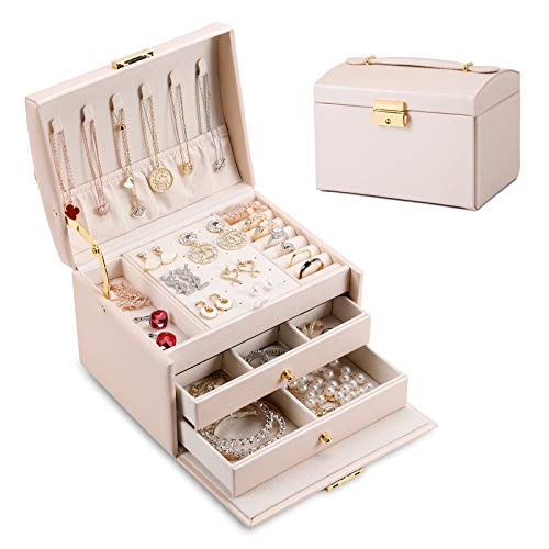 DEZZIE Women's Jewelry Box, Senior PU Leather, 3 Layer Medium Sized Jewelry Storage Box with Lock. Portable Travel Jewelry case for Earrings Bracelets...