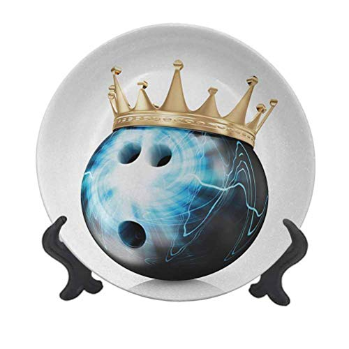 SfeatrutMAT 10' Bowling Party Dinner Plate,Crown on Artistic Ball Bowling King Champion Victory Theme Print Ceramic Tableware Plate for Dining Table Tabletop Home Decor Sky Blue Black Gold