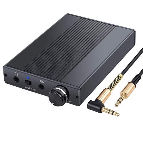 PROZOR USB DAC DSD64 Kopfhörerverstärker Unterstützung Impedanz 16-500Ω 3.5mm Tragbarer Amp 192 kHz/24bit HiFi Kopfhörerverstärker mit Gain Switch Wiederaufladbarer für Phone MP3 MP4 Digital Playe