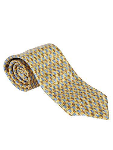 Ermenegildo Zegna Luxury Fashion Herren Z6W00L Gelb Seide Krawatte | Jahreszeit Permanent