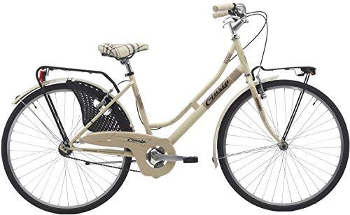 Cicli Cinzia Bicicletta 26' Citybike Donna Friendly, Senza Cambio, V-Brake Alluminio, Crema