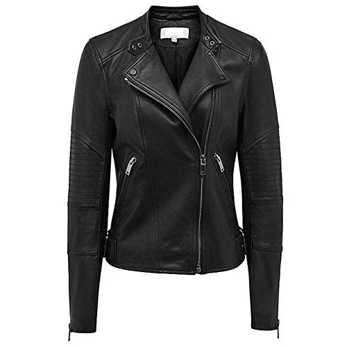 Sterling Sports® dames echt leer zacht zwart getailleerd vintage stijl jas grootte UK6-18 Biker nieuw (XL)