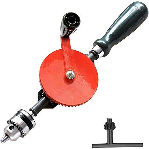 Handbohrer, schneller leistungsstarker manueller Handkurbelbohrer 3/8 Zoll (0,8 mm-1,8 mm) mit Guss-3-Backenfutter, für Holzkunststoff, ABS-Anti-Rutsch-Griff
