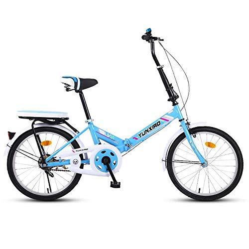 Zixin Klapprad 16/20 Zoll Männer und Frauen Modelle Leichte Faltrad Fahrrad Adult Mini Speed Car Doppelscheibenbremse Klapprad (Color : Blue, Size : 20 inches)