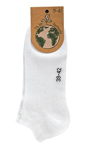 socksPur 3 Paar Sneakers-Socken aus Bio Baumwolle (Weiß, 39/42)