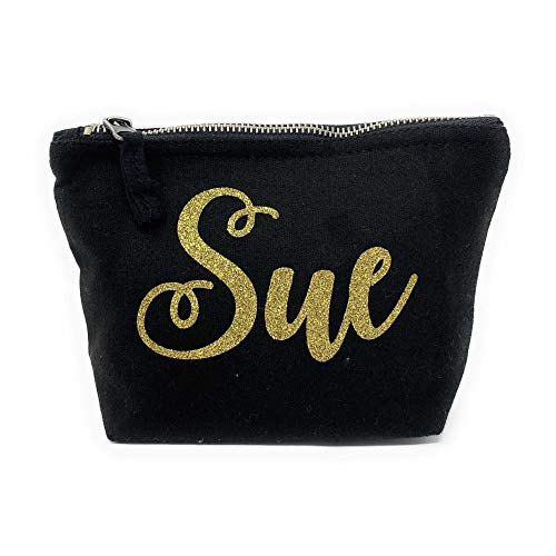 Personalised Make-Up Bag with Your Name & Choice from A Variety of Glitter - Perfect for Christmas & Other Special Occasions - from Printing Corner - (Black, Medium)