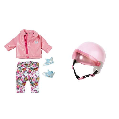 "Zapf Creation 825259"" Baby Born City Deluxe Scooter Outfit Puppe, bunt & Creation 825914"" Baby Born City Scooterhelm Puppe, bunt"
