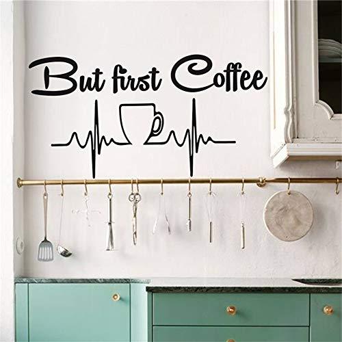 yiyiyaya Aber zuerst Kaffee Küche Dekor Wandtattoo Vinyl Aufkleber Kaffeetasse Wandbild Idee Wohnkultur Esszimmer Cafe Bar Tapete gelb 58x30 cm